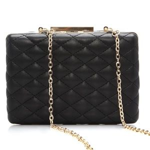 Black/Gold Boxy Quilted Detail Hand Clutch NWT